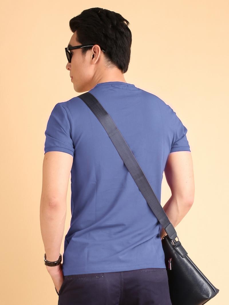 Áo thun cổ tròn xanh trơn at603 - 2