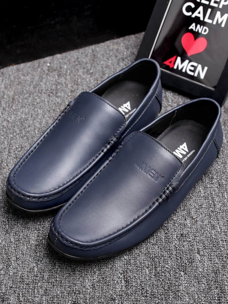 Giày mọi da xanh đen g76 - 3