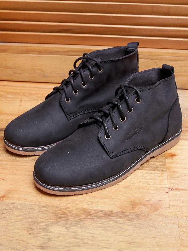 Giày boot cổ lửng đen g91 - 1