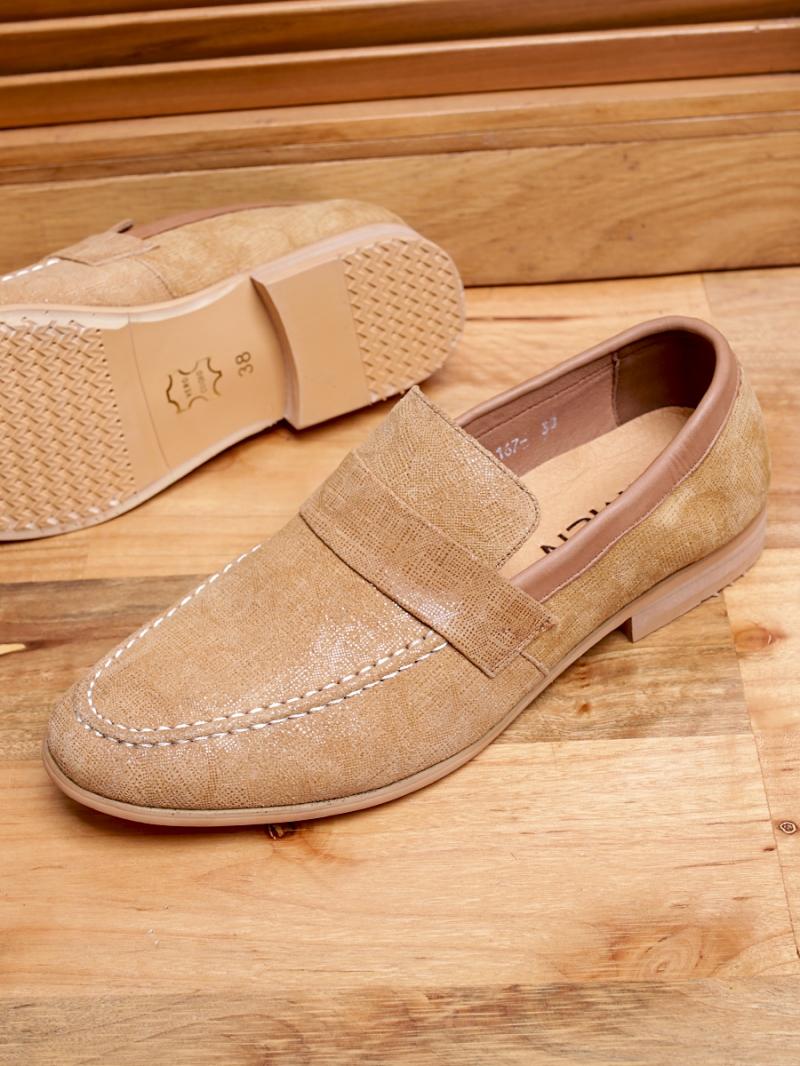 Giày mọi da màu bò g94 - 3