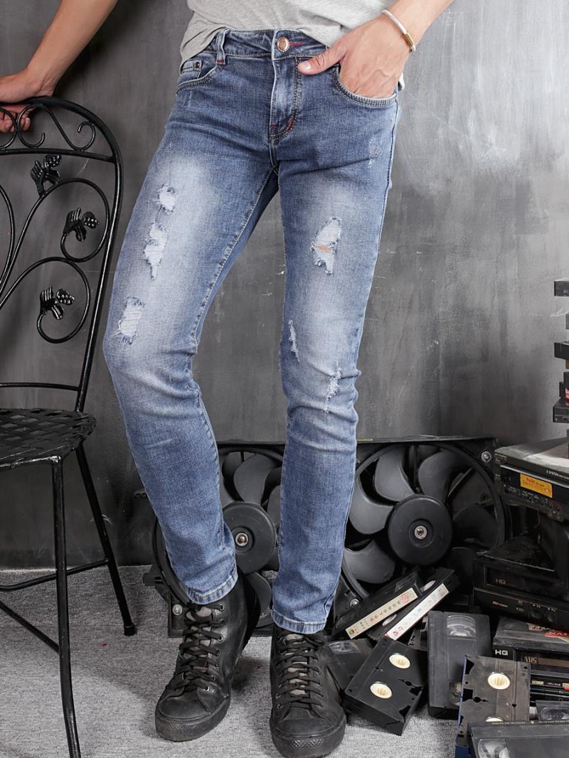 Quần jean skinny rách xanh dương qj1361 - 1