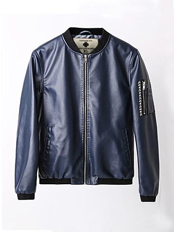 Áo khoác da xanh đen ak189 - 2
