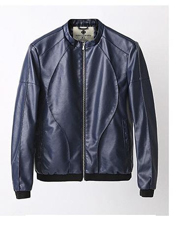 Áo khoác da xanh đen ak190 - 2