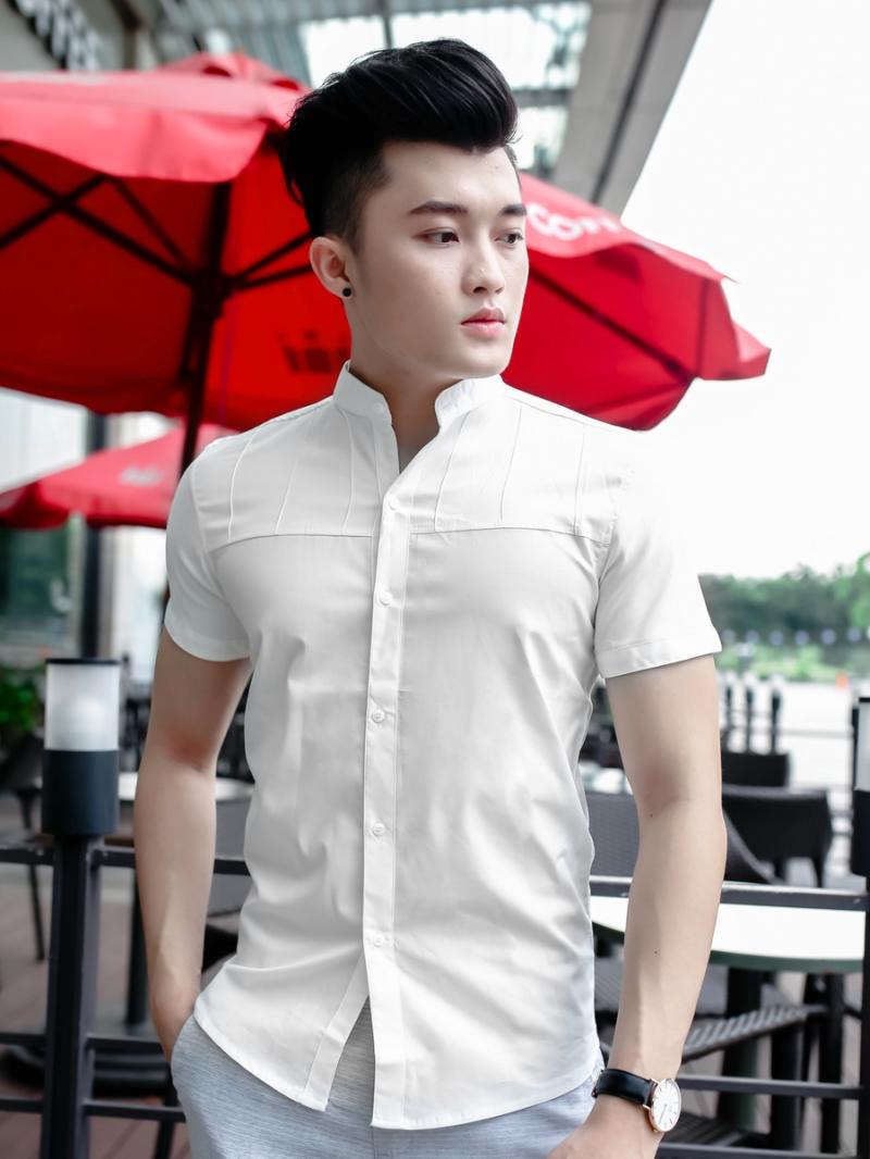 Ao So Mi Co Lanh Tu Ngan Tay Trang Kem ASM798