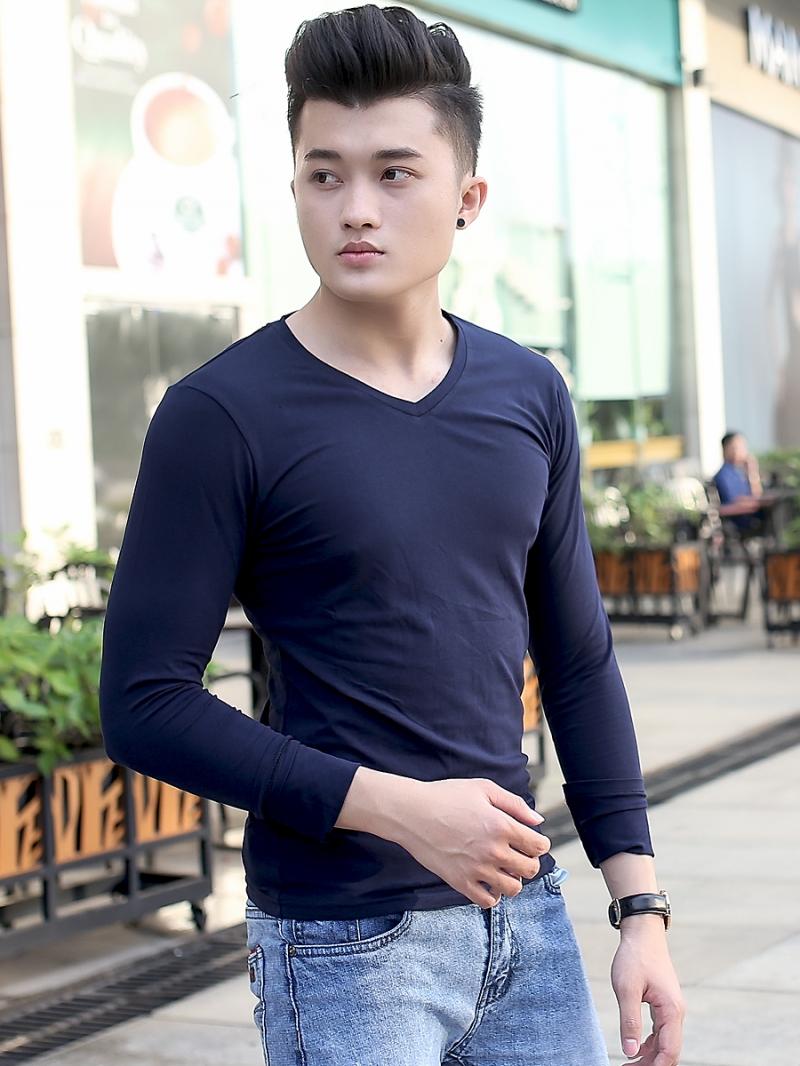 Áo thun cổ tim tay dài xanh đen at606 - 2