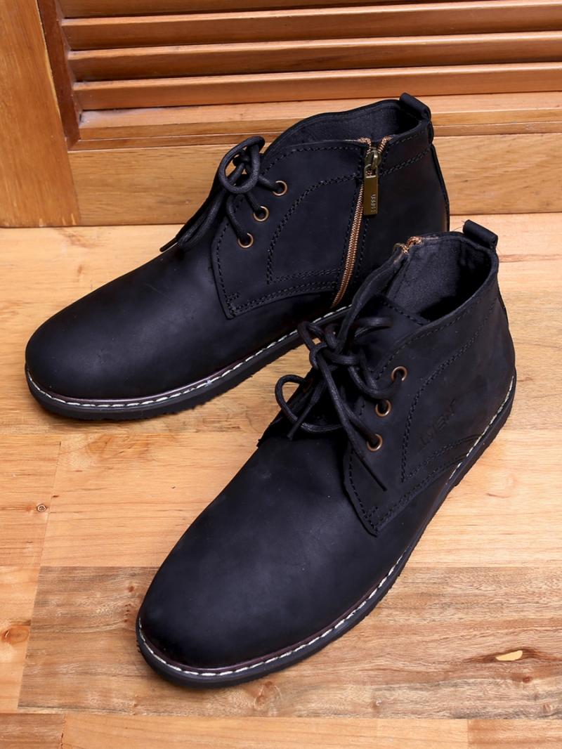 Giày boot cổ lửng đen g100 - 1