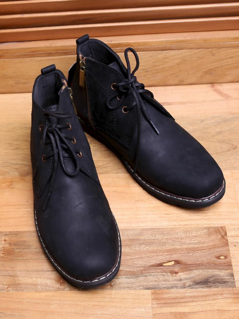 Giày boot cổ lửng đen g100 - 3