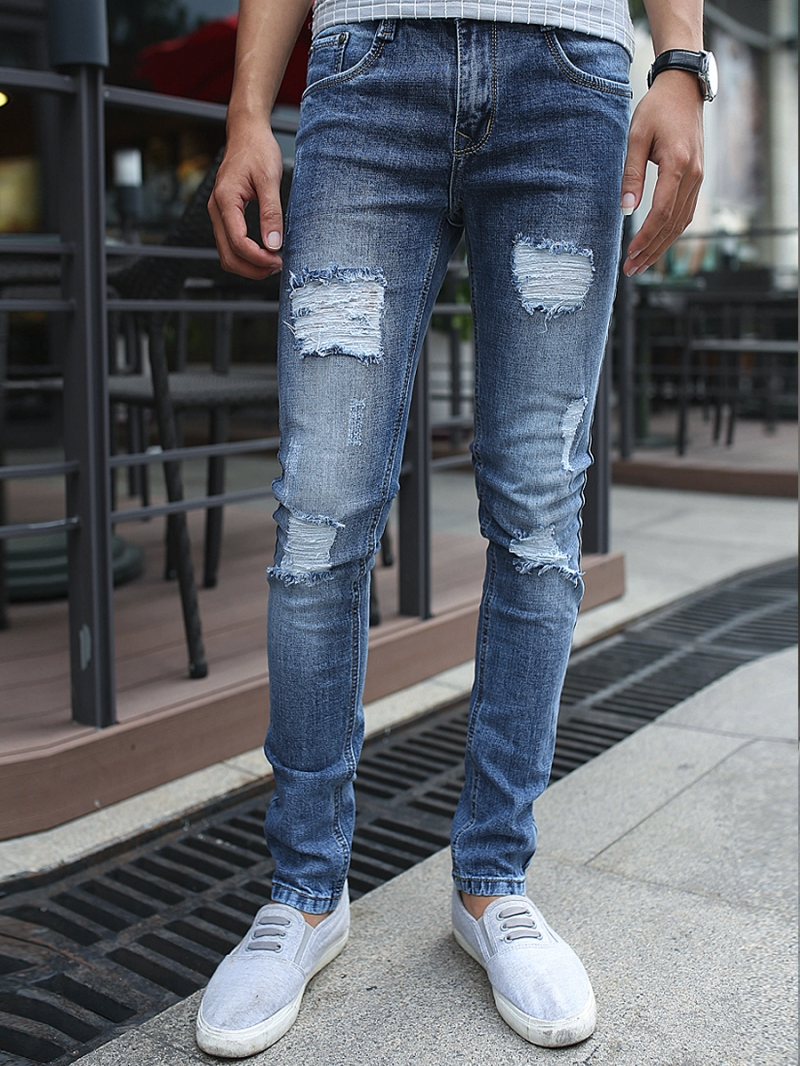 Quần jean skinny rách xanh dương qj1377 - 1