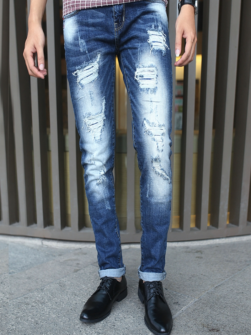 Quần jean skinny rách xanh dương qj1379 - 1