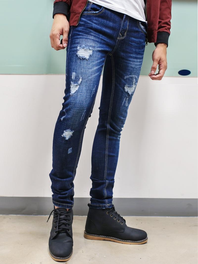 Quần jean skinny rách xanh đen qj1385 - 1