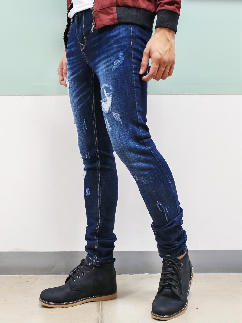 Quần jean skinny rách xanh đen qj1385 - 2