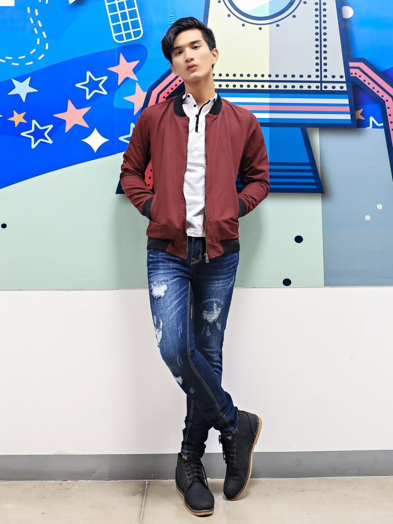 Quần jean skinny rách xanh đen qj1385 - 4