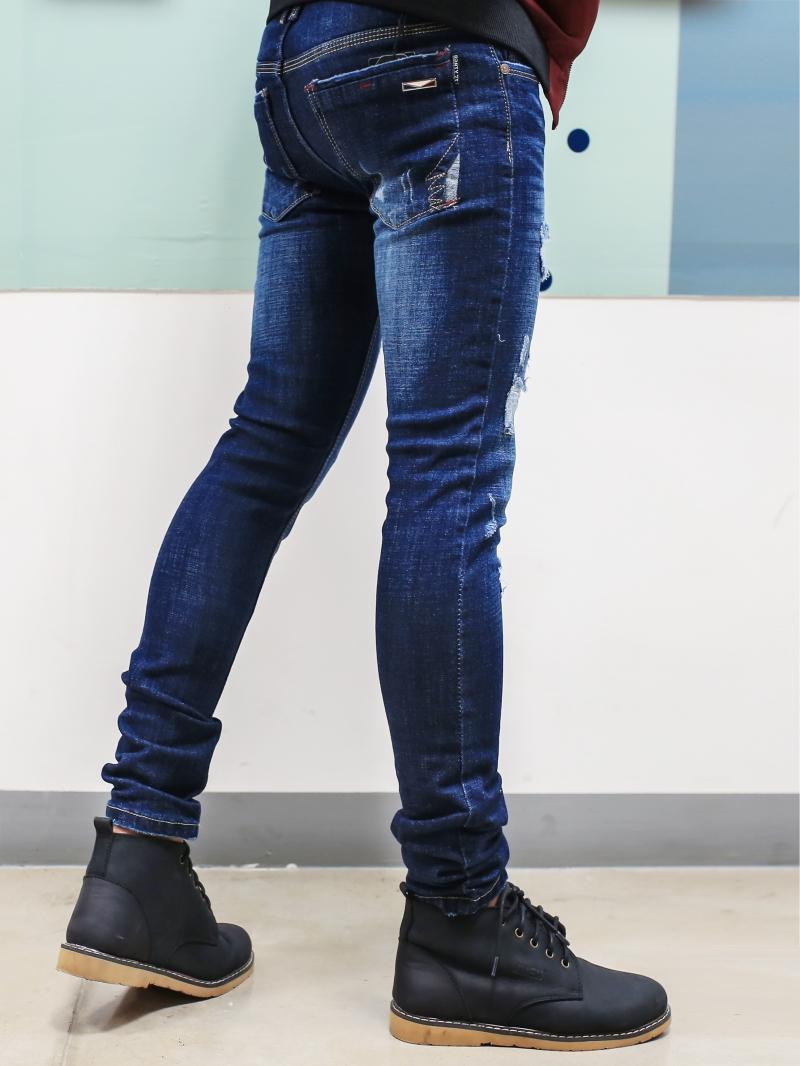 Quần jean skinny rách xanh đen qj1385 - 3