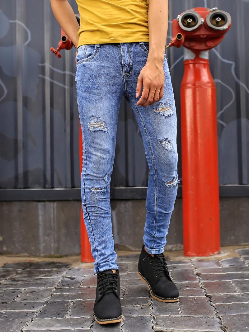 Quần jean skinny rách xanh qj1386 - 1
