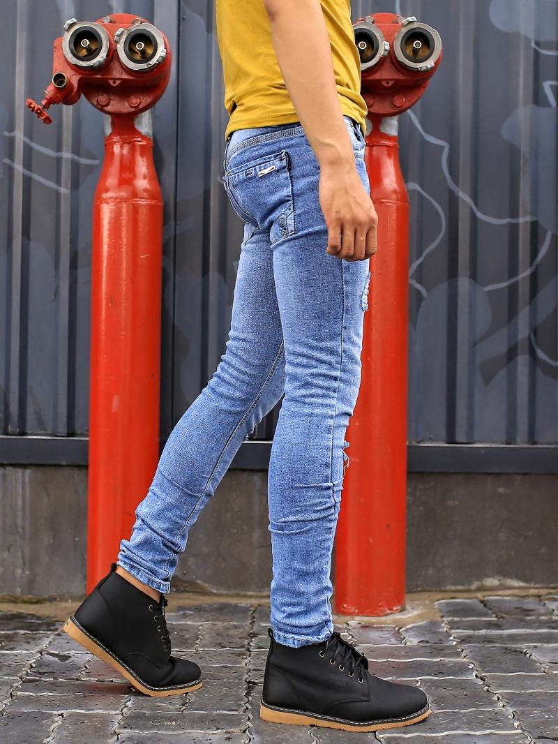 Quần jean skinny rách xanh qj1386 - 2