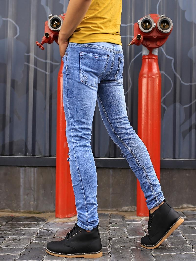Quần jean skinny rách xanh qj1386 - 3