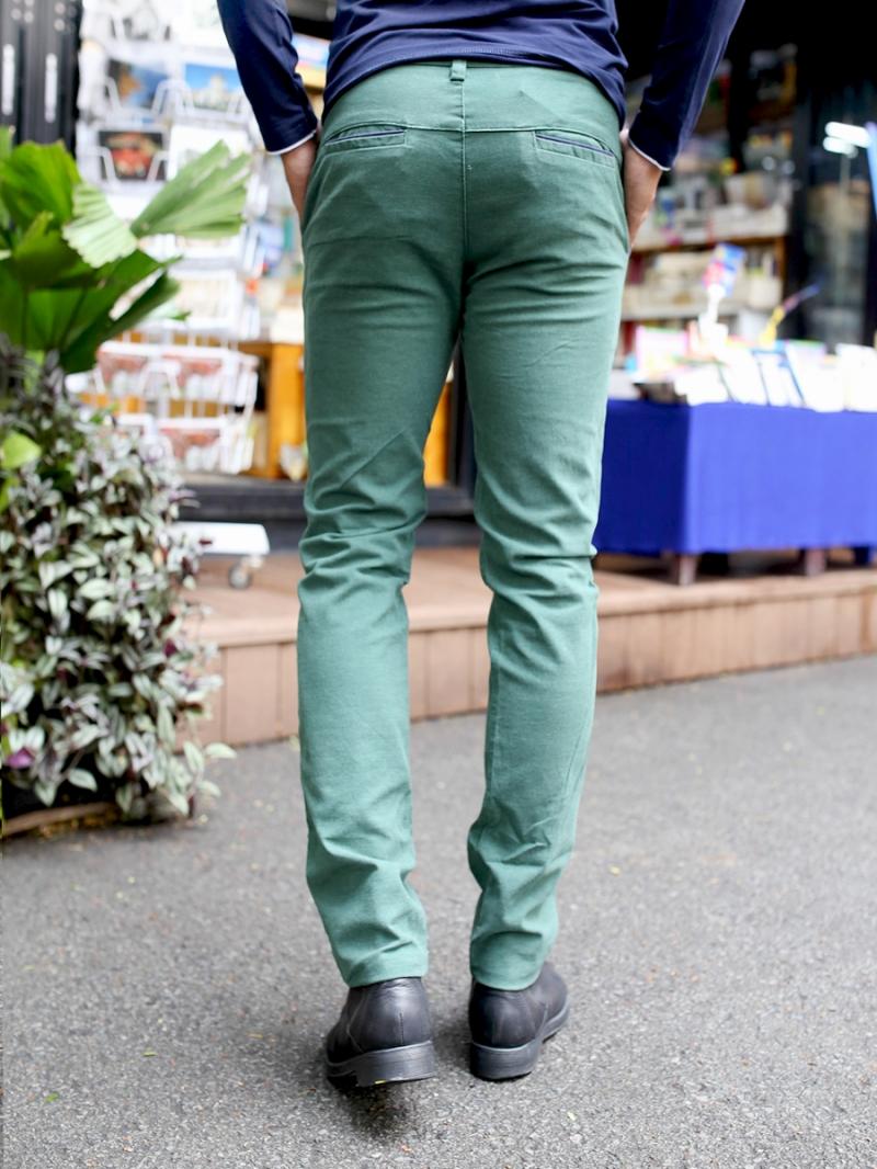 Quần kaki vải bố xanh lá cây qk157 - 3