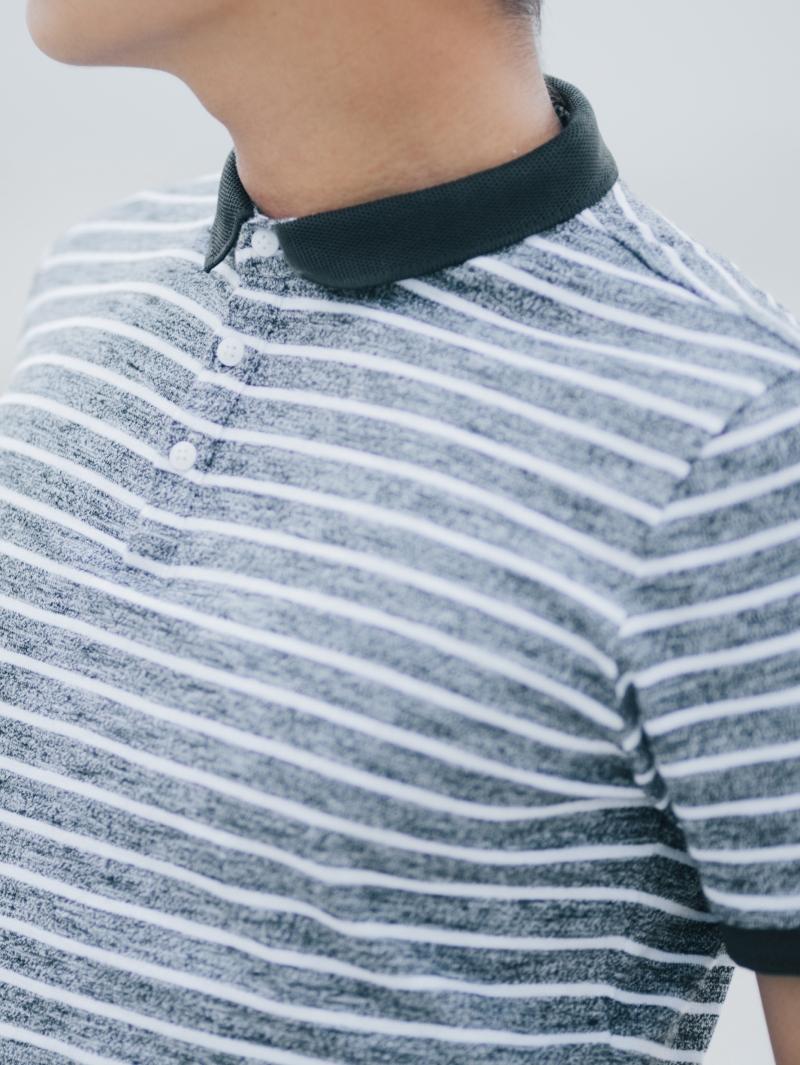 Áo thun sọc có cổ đen at635 - 3