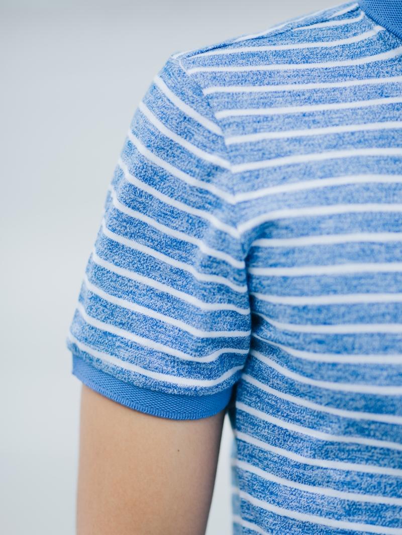 Áo thun sọc có cổ xanh biển at635 - 4