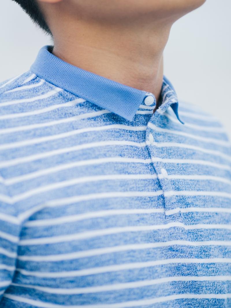 Áo thun sọc có cổ xanh biển at635 - 3