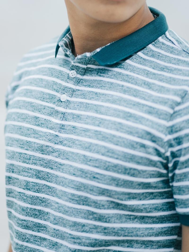 Áo thun sọc có cổ xanh rêu at635 - 3
