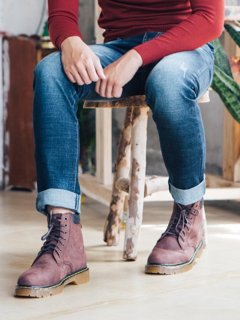 Giày Boot Cổ Cao Nâu G101