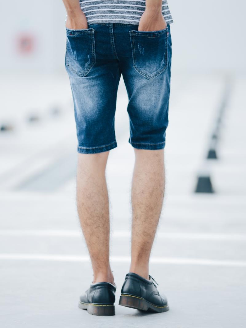 Quần short jean xanh đen qs90 - 2