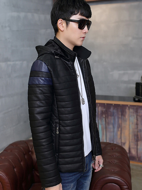 Áo khoác da đen có nón ak210 - 2
