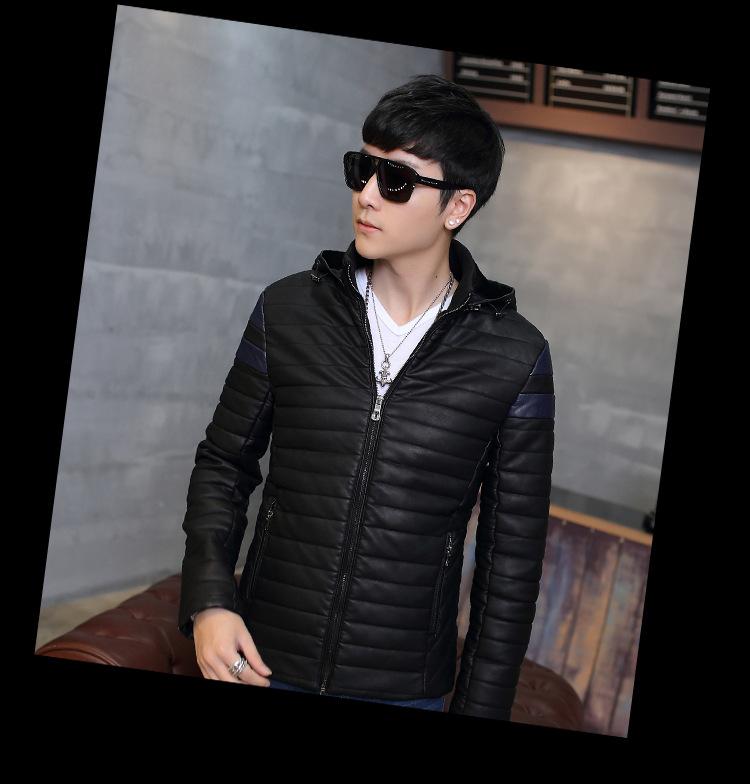 Áo khoác da đen có nón ak210 - 3