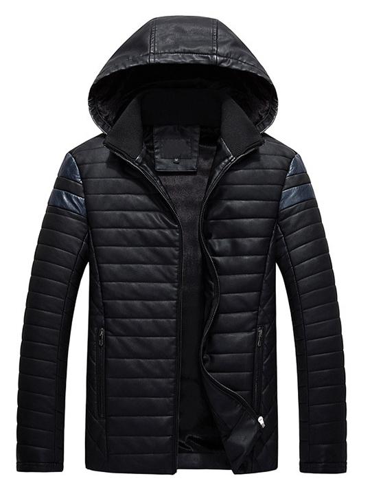 Áo khoác da đen có nón ak210 - 4