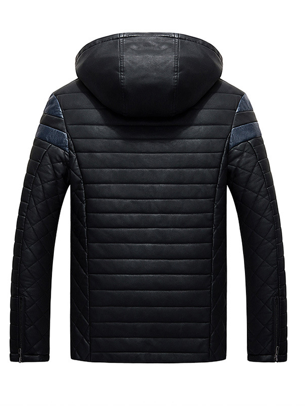 Áo khoác da đen có nón ak210 - 5