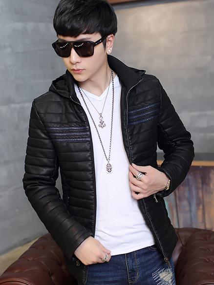 Áo khoác da đen có nón ak213 - 2