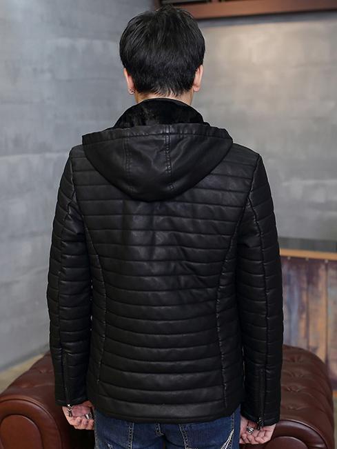 Áo khoác da đen có nón ak213 - 3