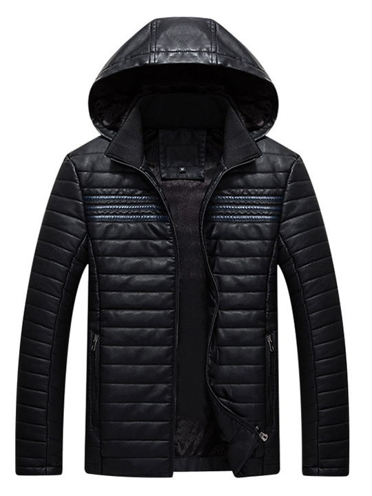 Áo khoác da đen có nón ak213 - 4