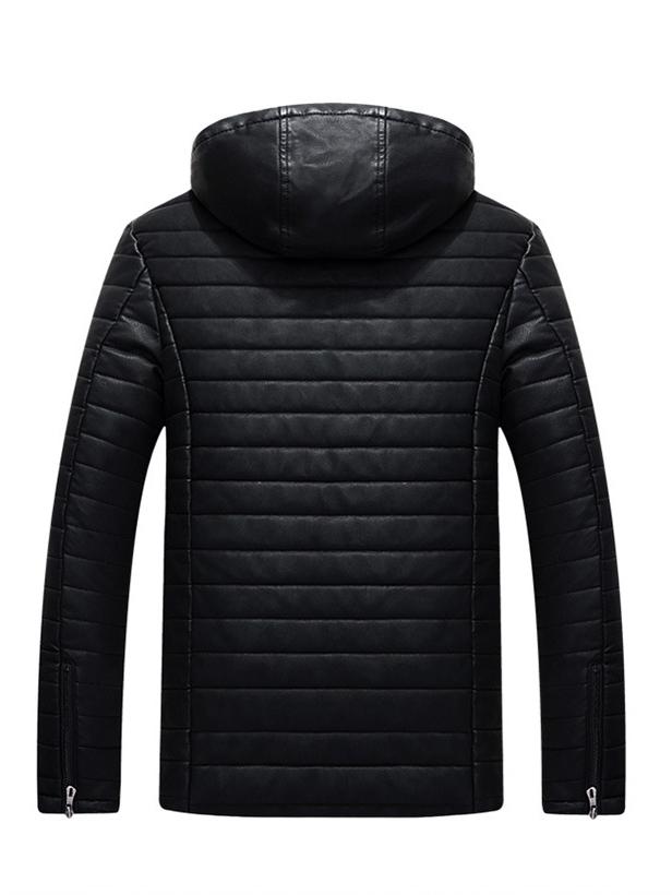 Áo khoác da đen có nón ak213 - 5