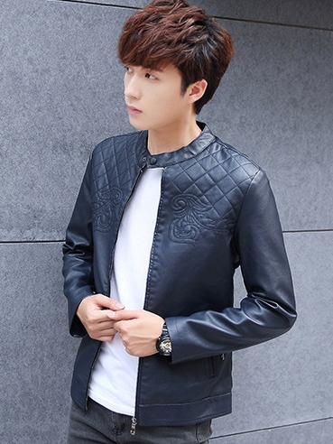Áo khoác da xanh đen ak208 - 3