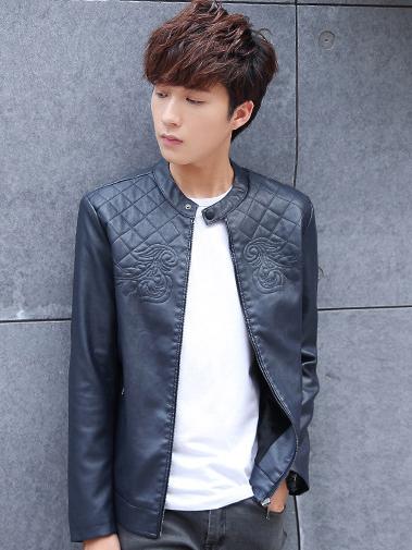 Áo khoác da xanh đen ak208 - 4