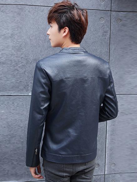 Áo khoác da xanh đen ak208 - 2