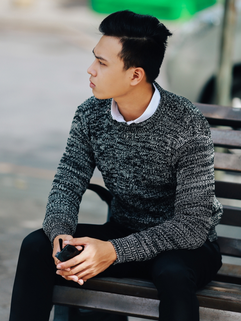 Áo len màu đen al102 - 3