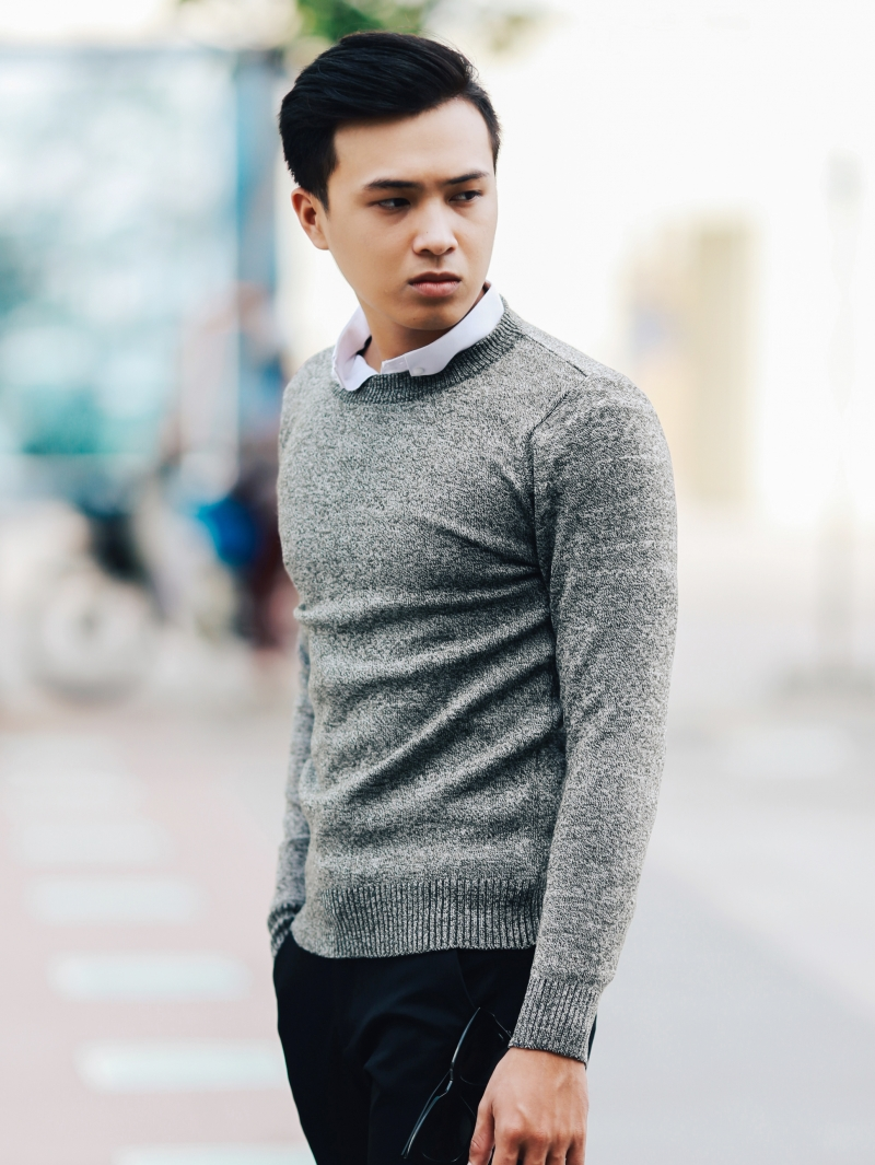 Áo len màu xám chuột đậm al107 - 2