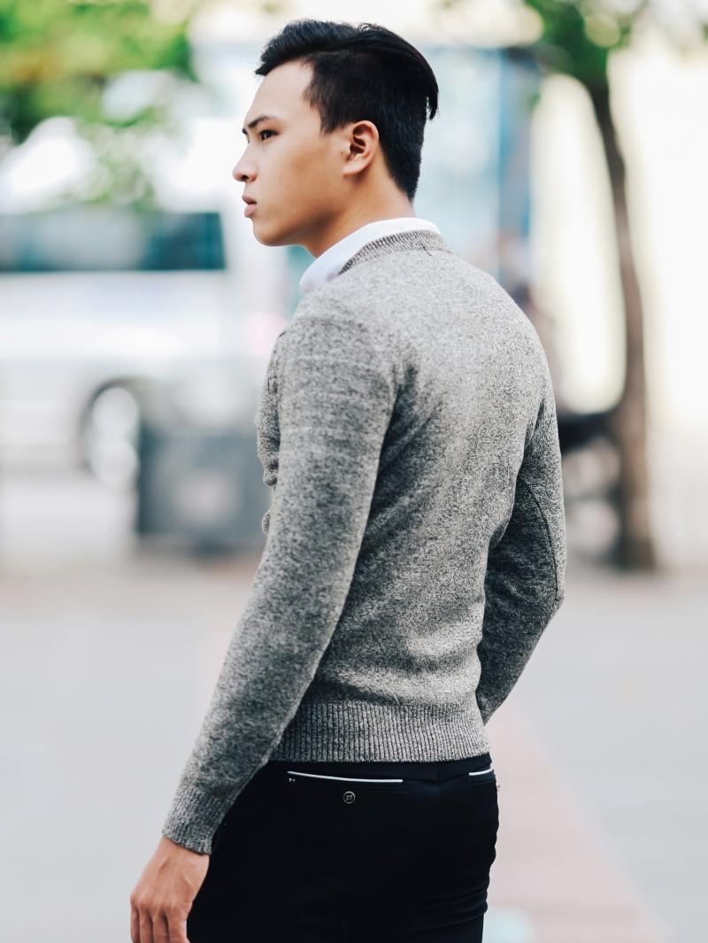 Áo len màu xám chuột đậm al107 - 3