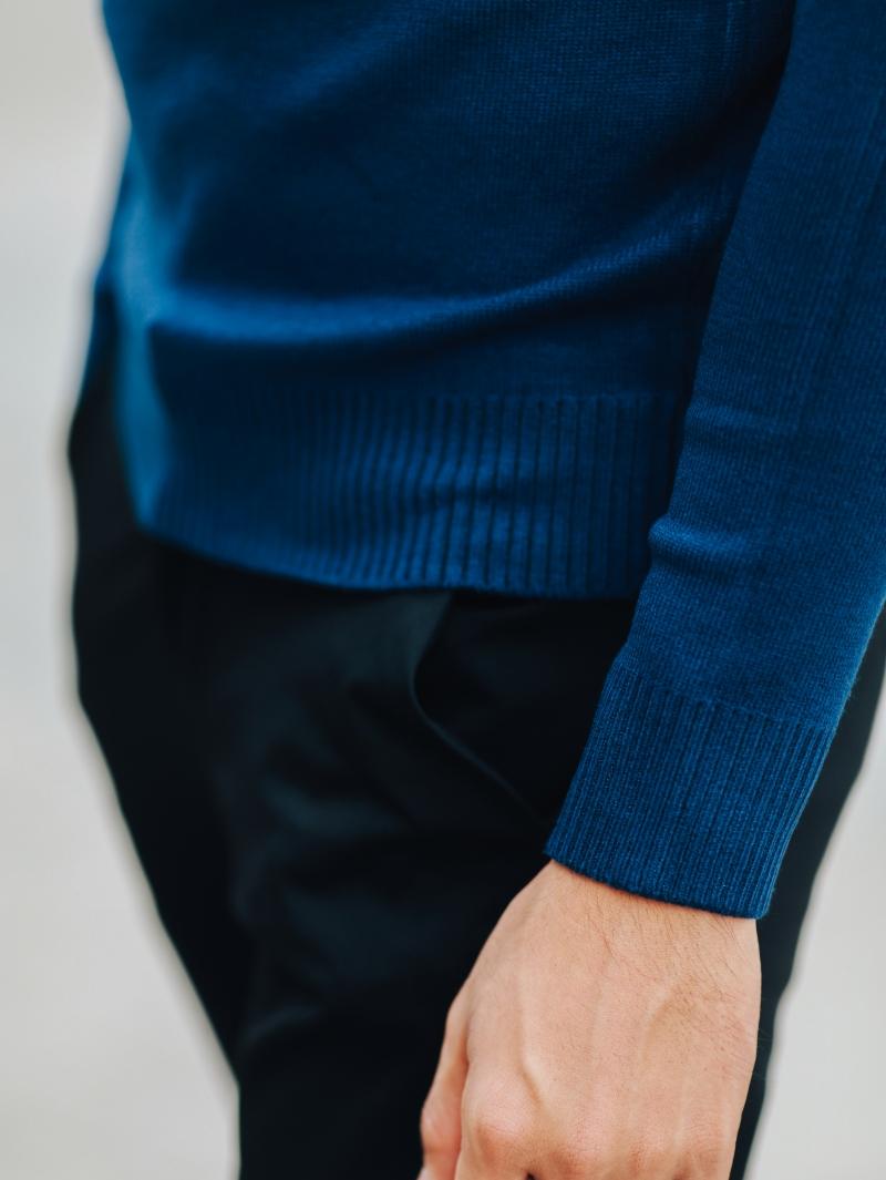 Áo len màu xanh sọc trắng al98 - 4