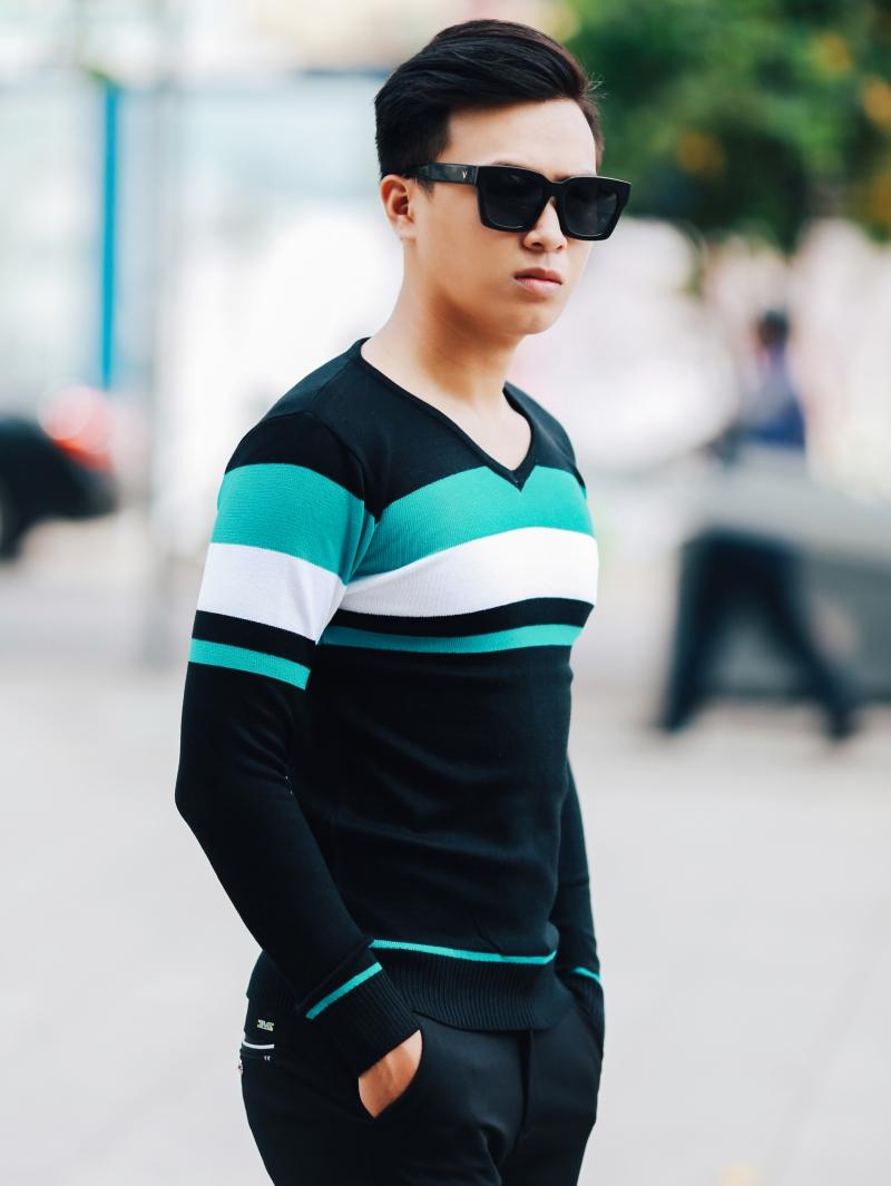 Áo len sọc xanh ngọc al99 - 2