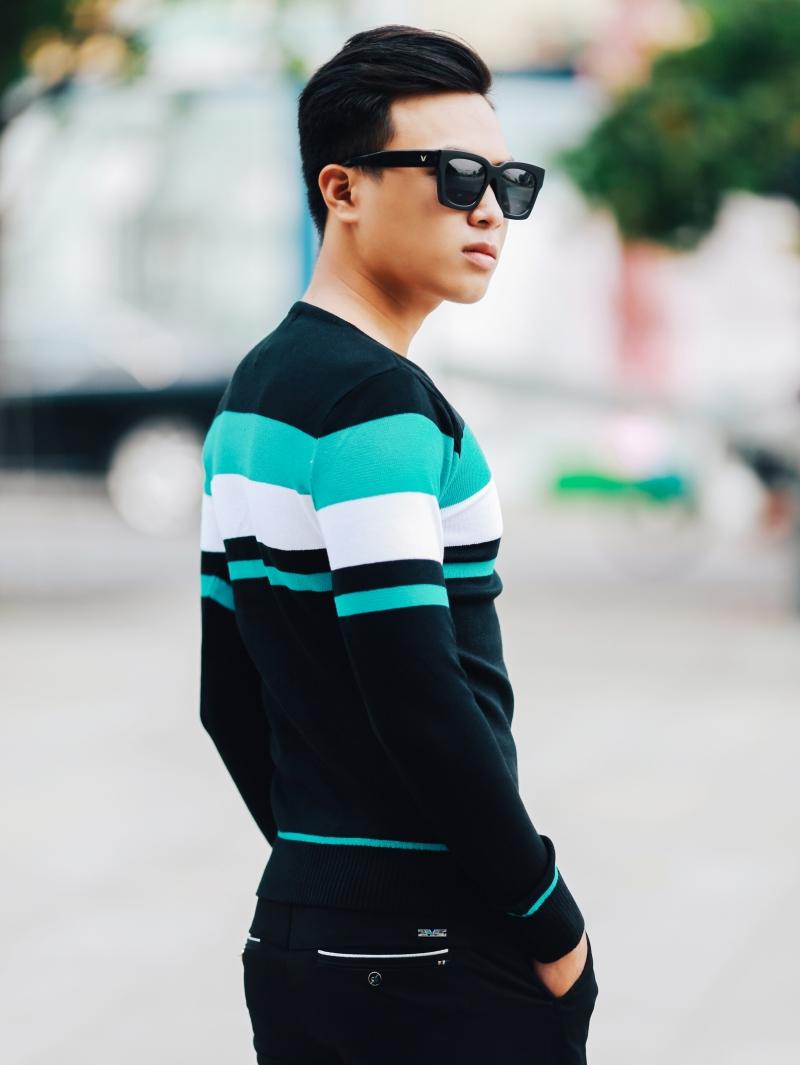 Áo len sọc xanh ngọc al99 - 3