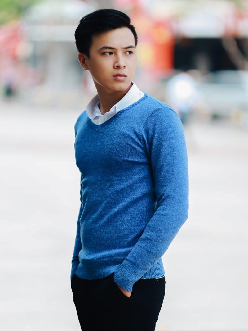 Áo len xanh biển đậm al106 - 3