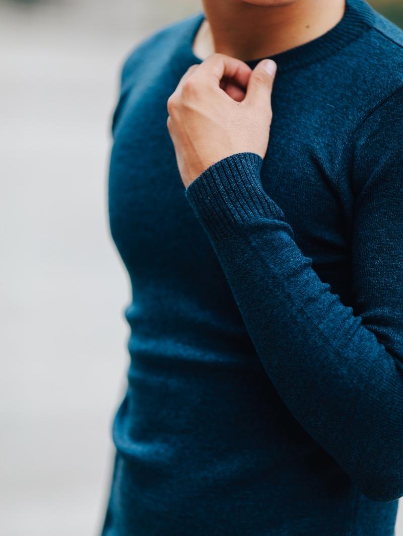 Áo len xanh đen al107 - 4
