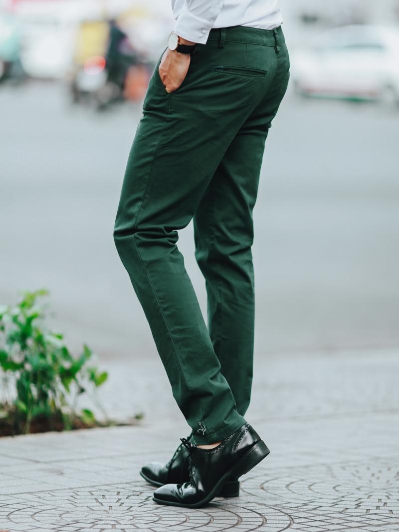 Quần kaki xanh rêu qk163 - 3
