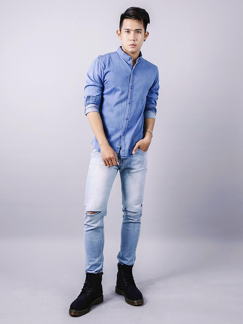 Áo sơ mi jeans xanh biển asm878 - 3