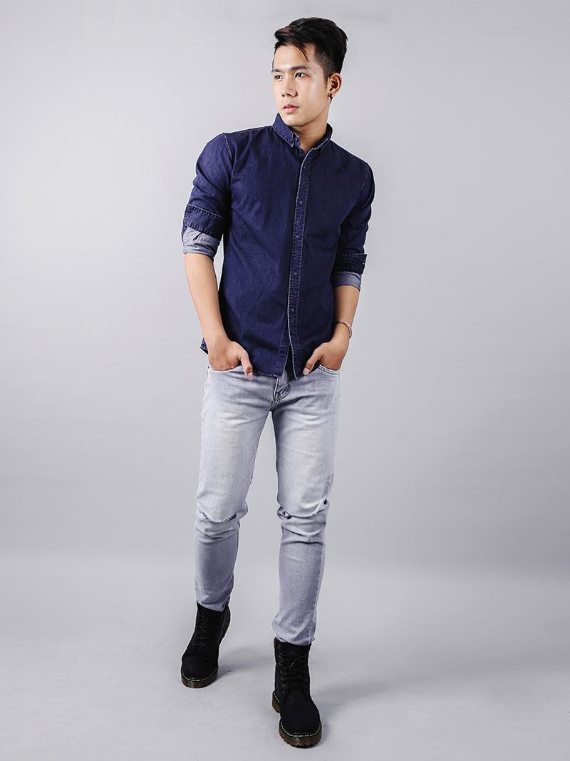 Áo sơ mi jeans xanh đen asm878 - 3