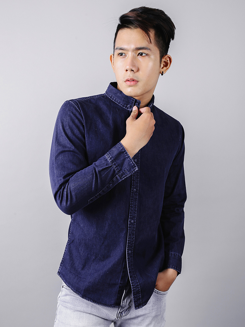 Áo sơ mi jeans xanh đen asm878 - 2